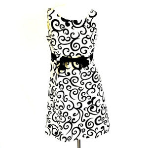 R&K Ivory Scrolls Sleeveless A-line Cocktail Dress